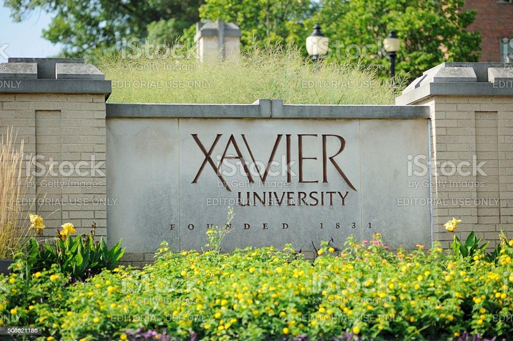 Close up of Xavier University sign stock photo
