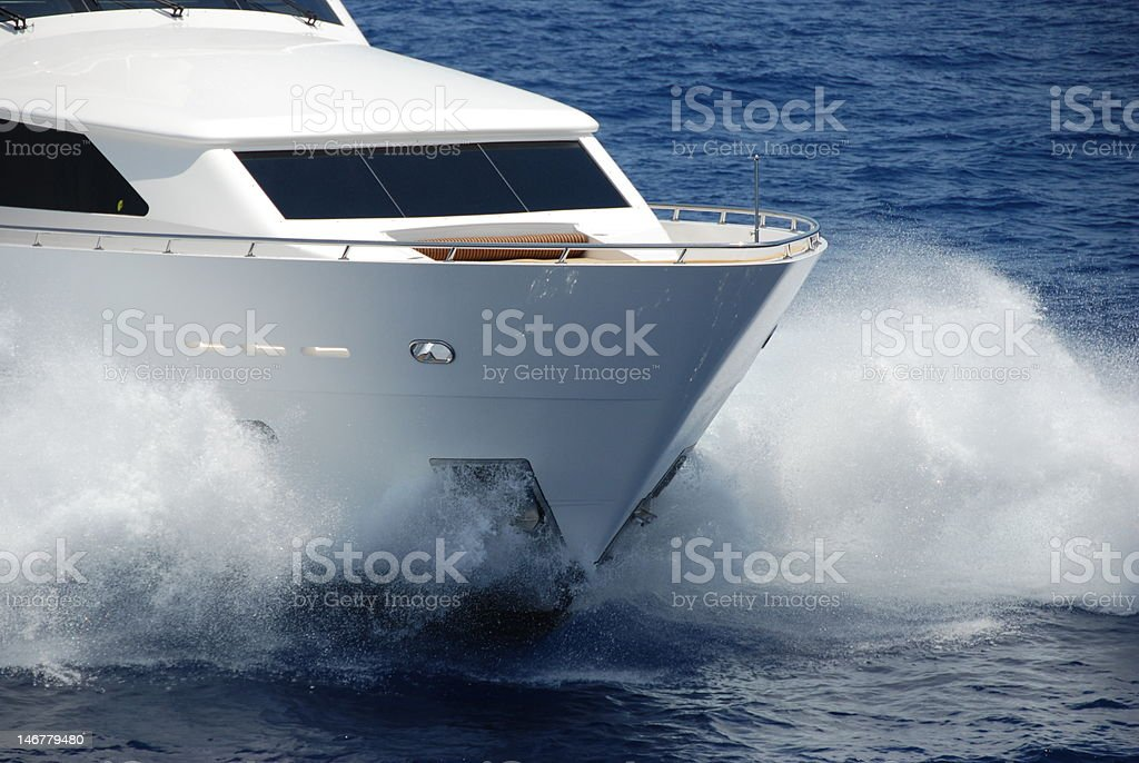Close up of Yacht Bow underway stock photo