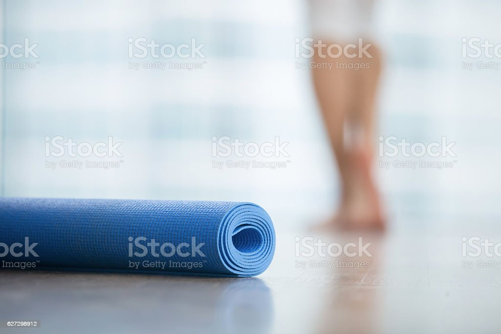 Close up of yoga, fitness mat stock photo