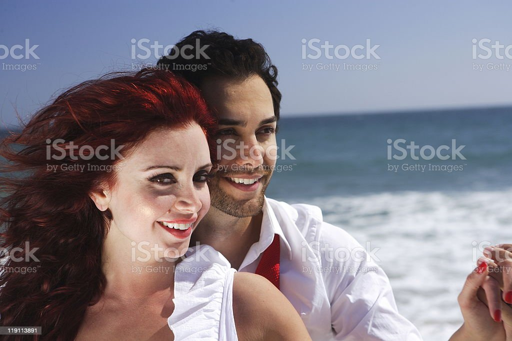close up of Young Couple at the Beach royalty-free stock photo