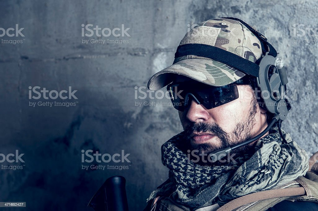 Close Up of Young Hispanic Bearded Modern Army Soldier royalty-free stock photo