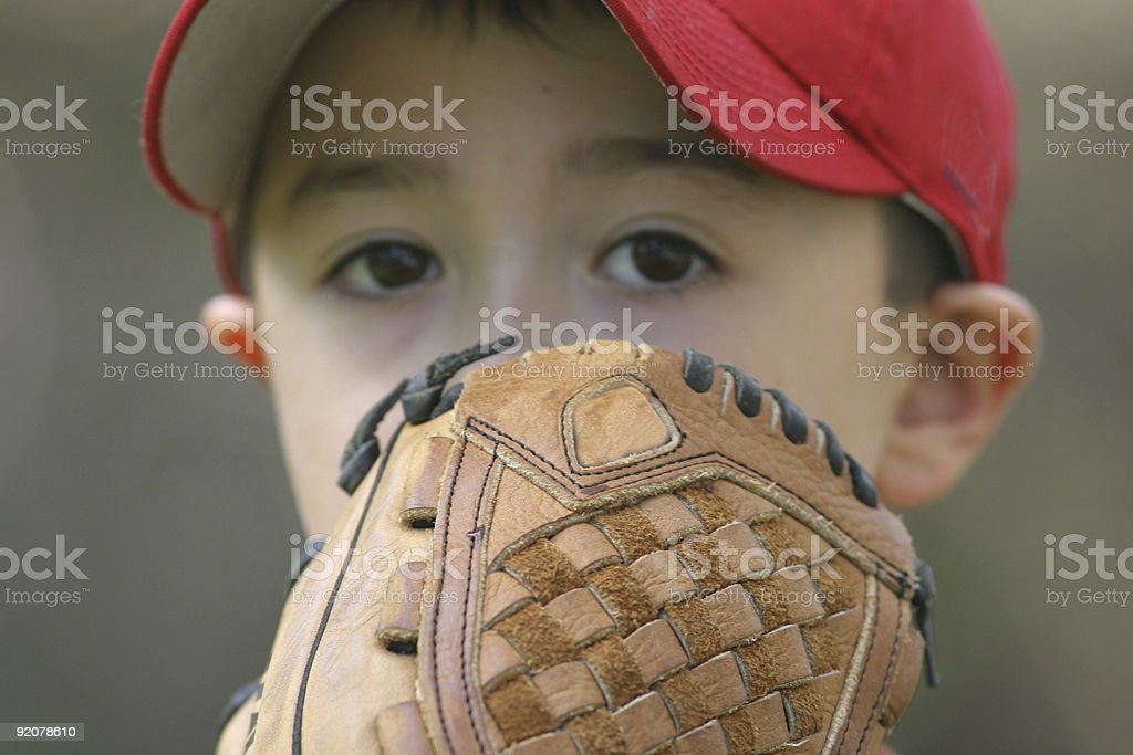 Close up of young pitcher on the mound stock photo