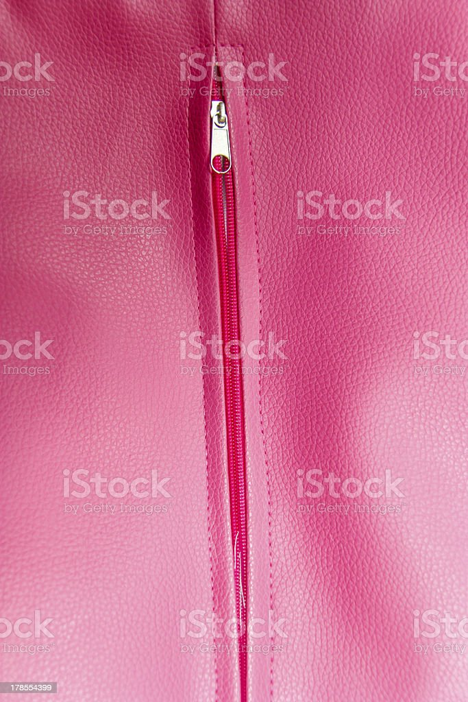Close up of zipper on pink coat royalty-free stock photo