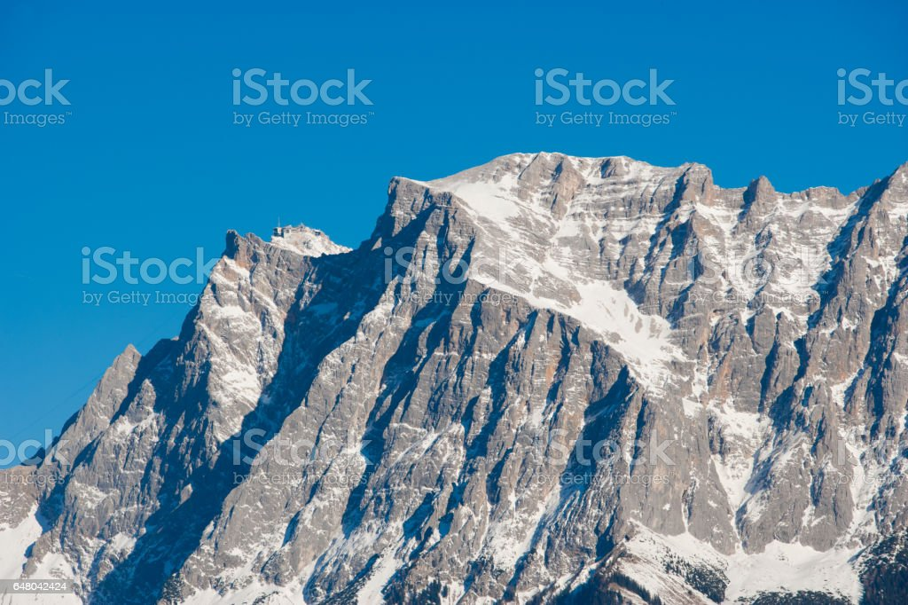 Close up of Zugspitze mountain in Germany stock photo