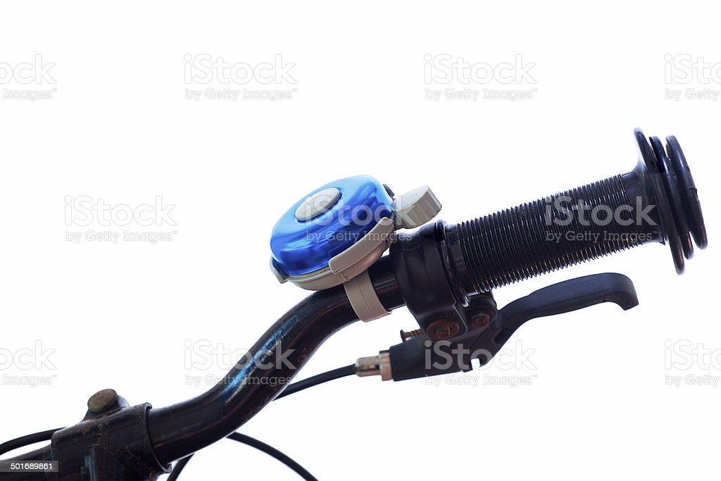 Close up Old Bicycle handlebars bicycle bell and hand man. stock photo