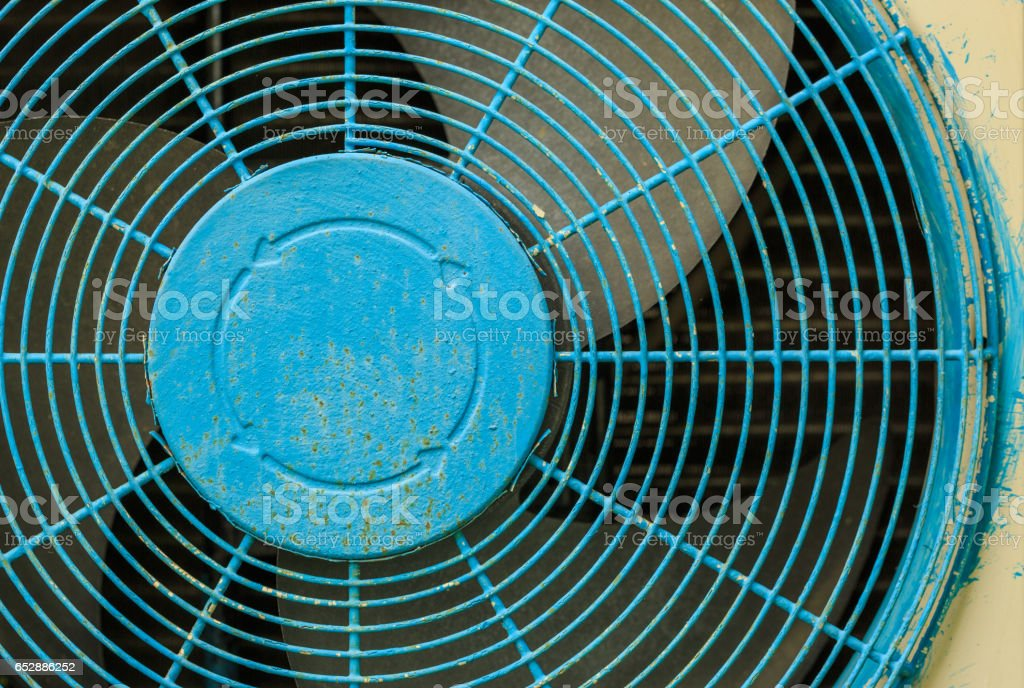 Close up old blue Grate of  Air Compressor stock photo