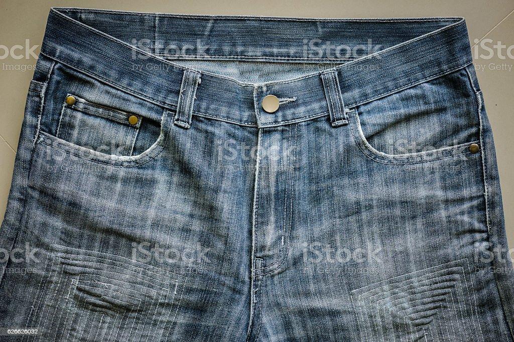 98b49932d9e close up old dark blue denim jeans royalty-free stock photo