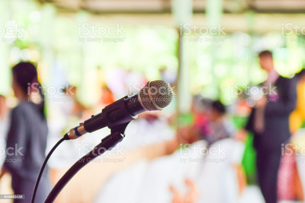 Close up old microphone in conference room stock photo