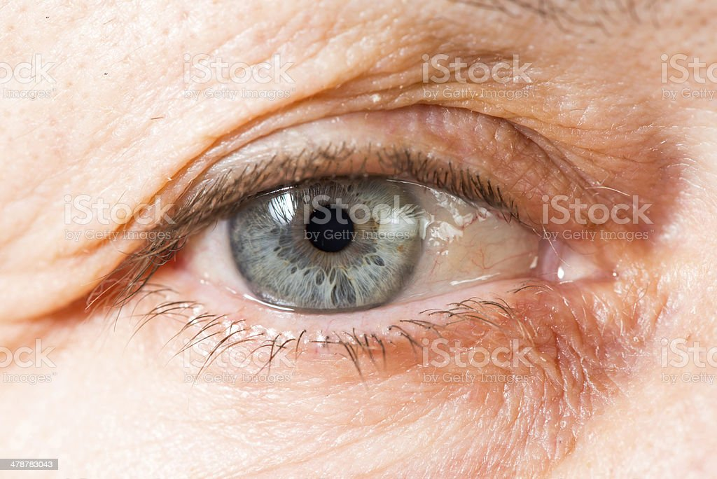 Close up old women eye stock photo
