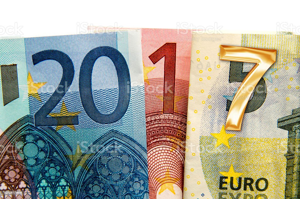 Close up on 2017 written with euros bank notes stock photo