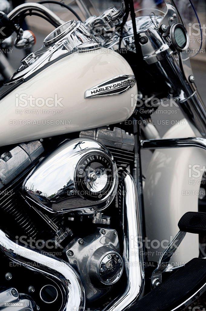 Close up on a Harley Davidson stock photo