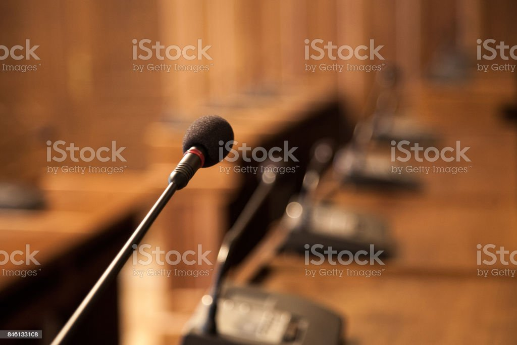 Picture of microphone in the amphitheatre of an empty local assembly...