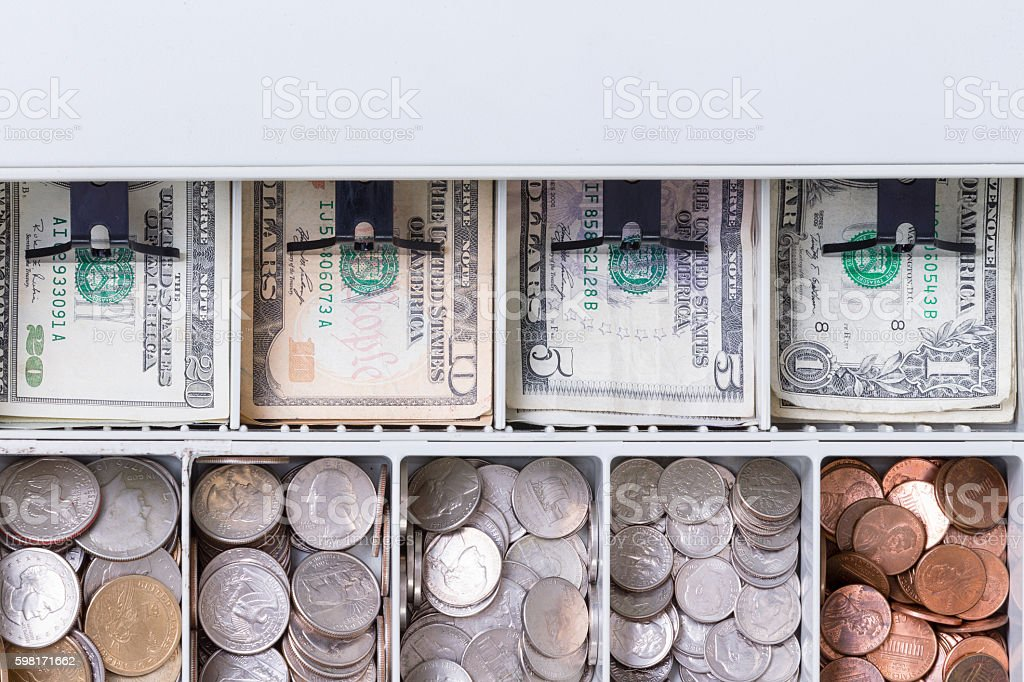 Close Up On American Currency In Cash Drawer Foto Royalty Free