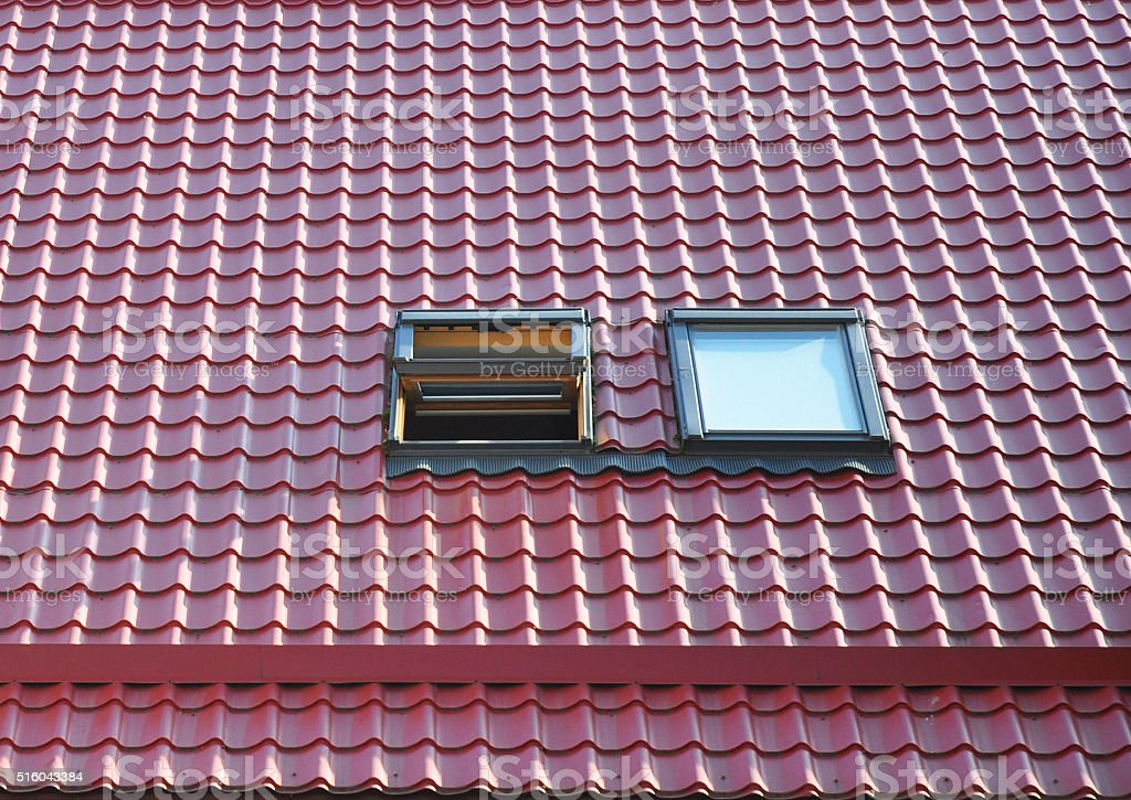 Close up on Beautiful Opened Roof Windows and Skylights. stock photo