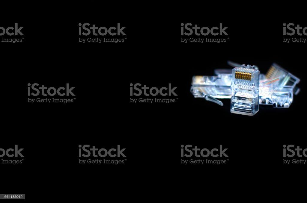 RJ45 Close up on black background stock photo