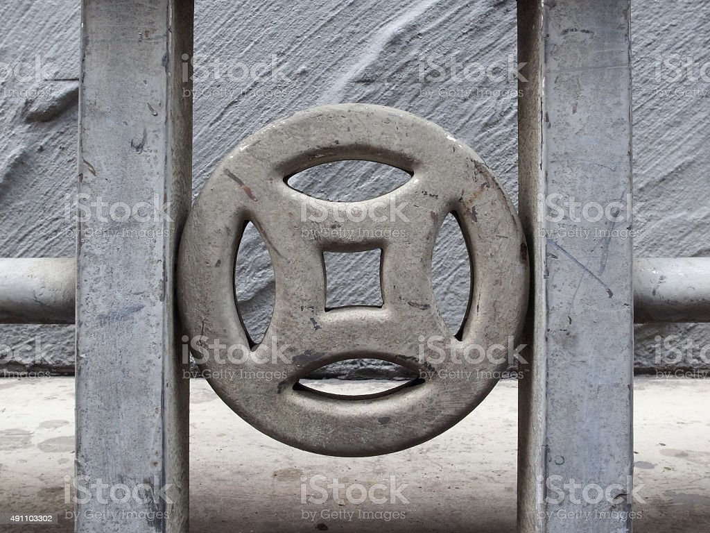 Close up on Chinese traditional totem shape railing. stock photo