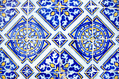 Close up on decorative ceramic tile