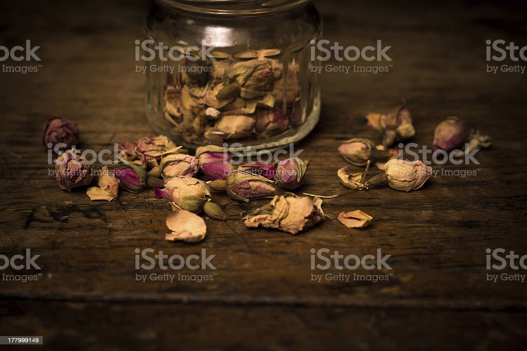 Close up on dried rosebuds royalty-free stock photo