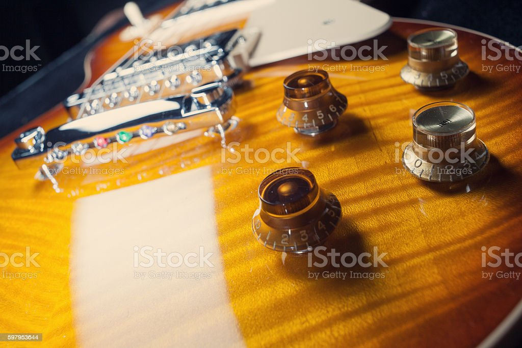 Close up on electric guitar stock photo