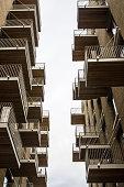 Close up on empty condominium with balconies
