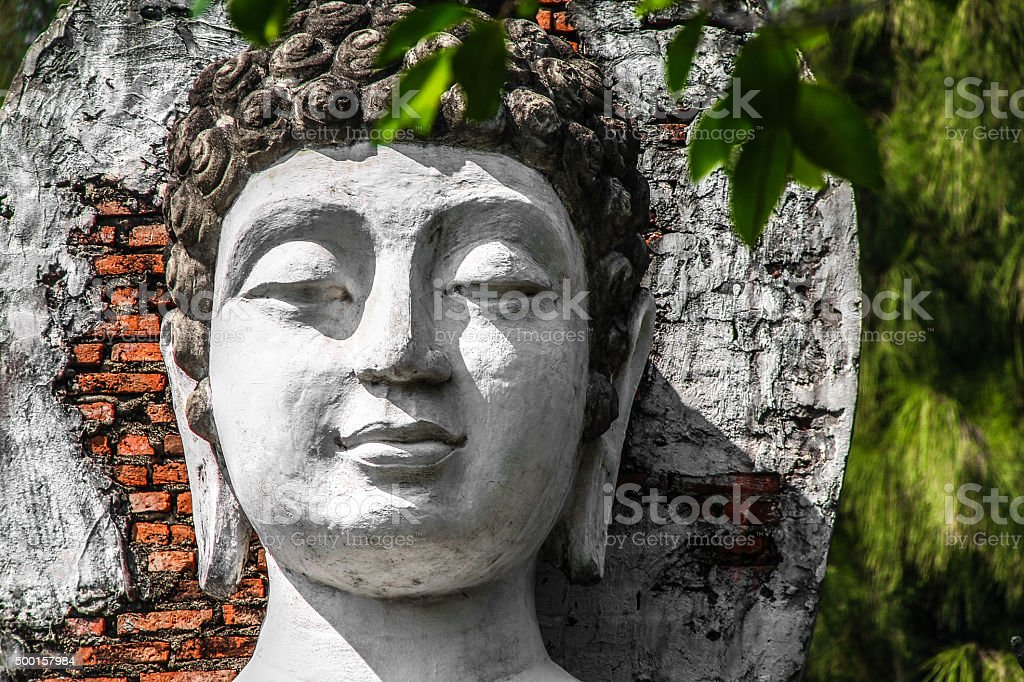Close up on face of Buddha statue stock photo