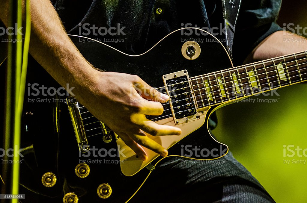 Close up on guitar stock photo