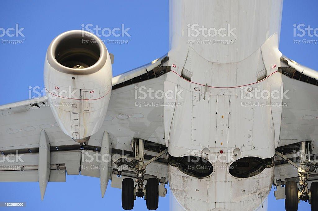 Close up on landing plane royalty-free stock photo