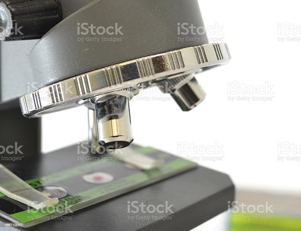 Close up on microscope lenses royalty-free stock photo