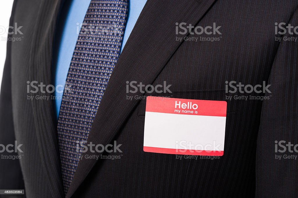 Close up on Name Tag stock photo