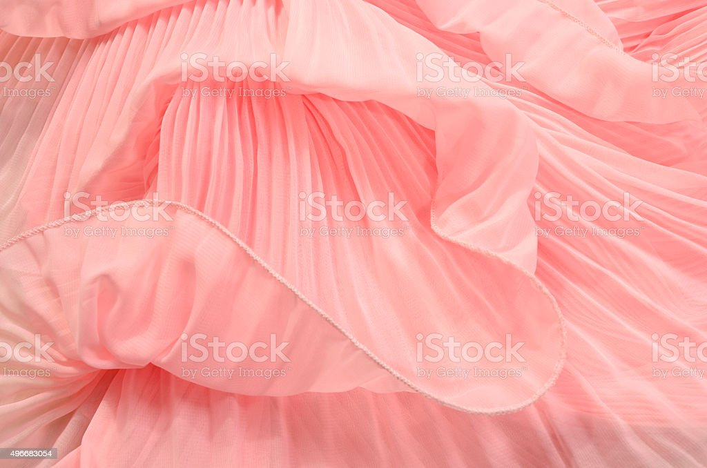 Close up on pink pleated lace. stock photo