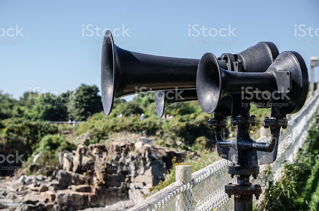 Close up on Portland Lighthouse foghorn stock photo