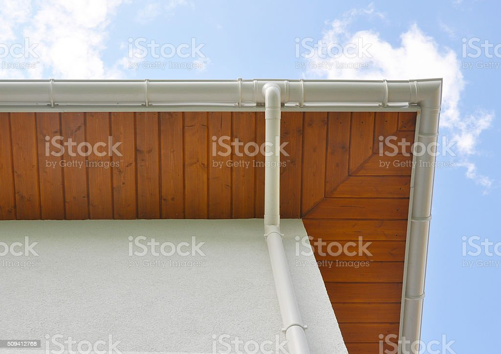 Close up on Rain Gutter, Soffit Board, Fascia Board. stock photo