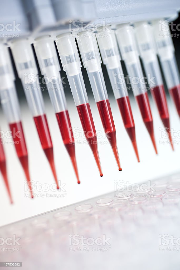 Close up on red pipettes stock photo