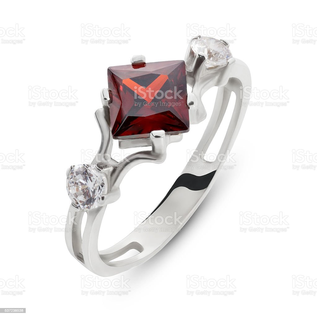 Close up on red ruby and diamond ring stock photo