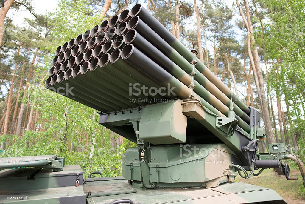 close up on rocket launcher vehicle stock photo