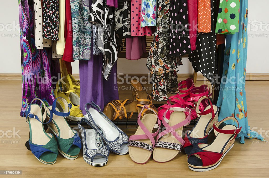 Close up on summer sandals in a wardrobe. royalty-free stock photo