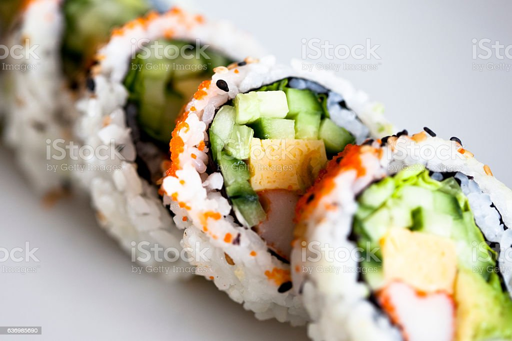 Close up on sushi stock photo