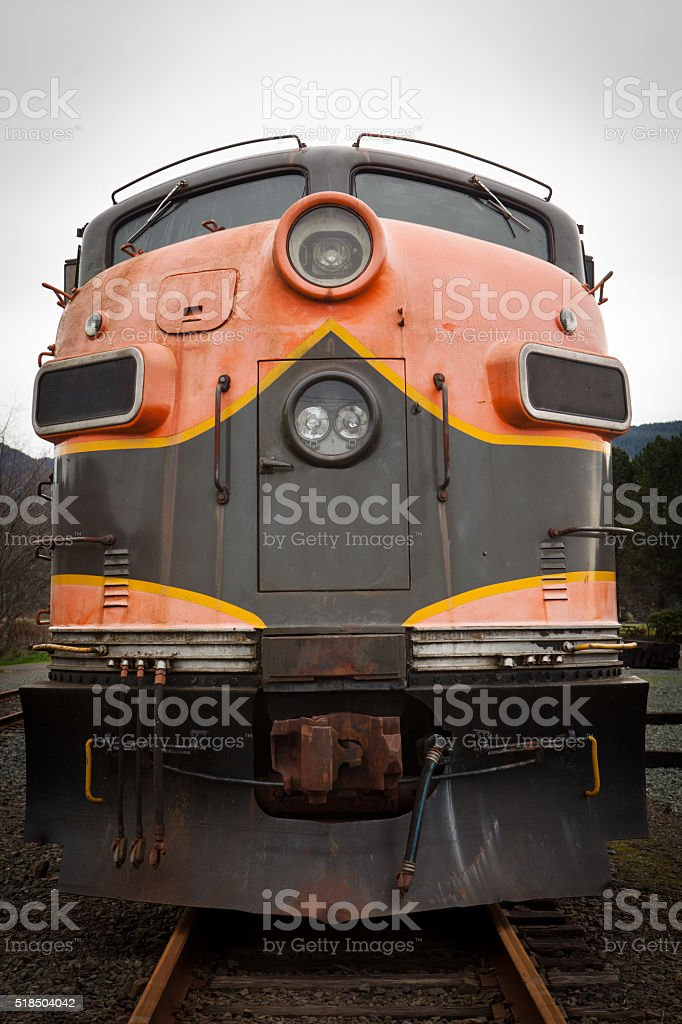 Close up on the front of a locomotive engine. stock photo