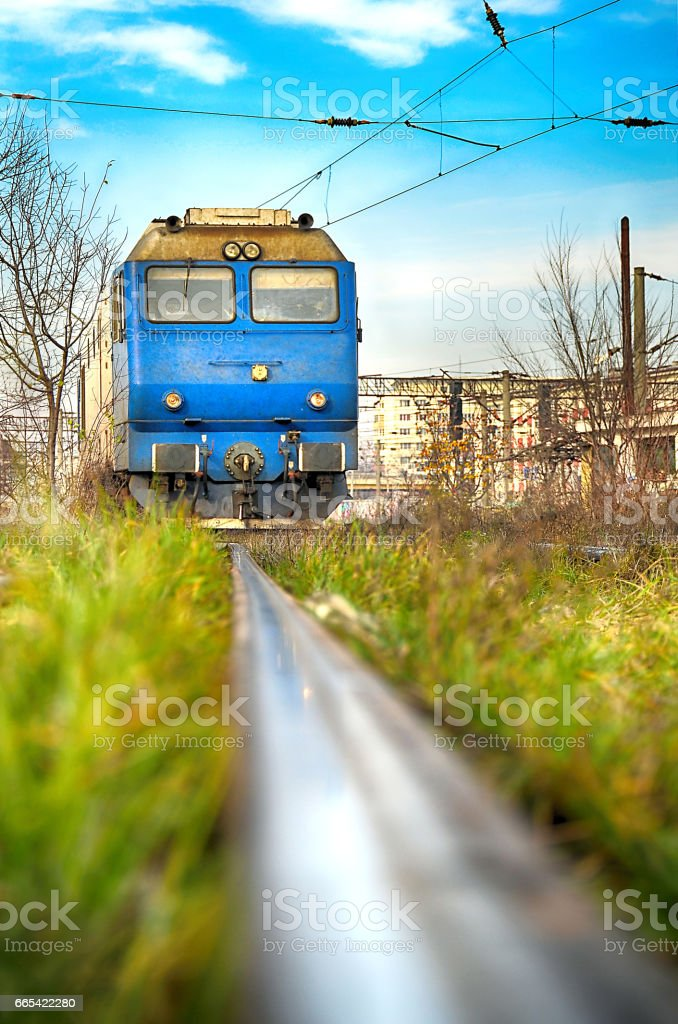 Close up on the front of a locomotive stock photo