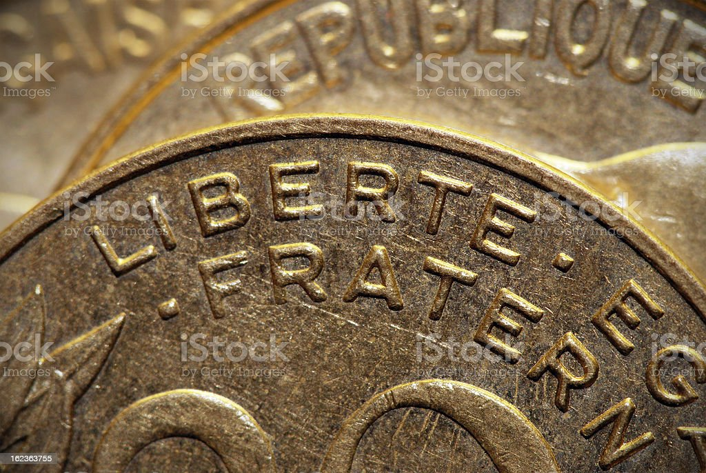 Close up on the word 'Liberté' in 20 Centimes coin stock photo