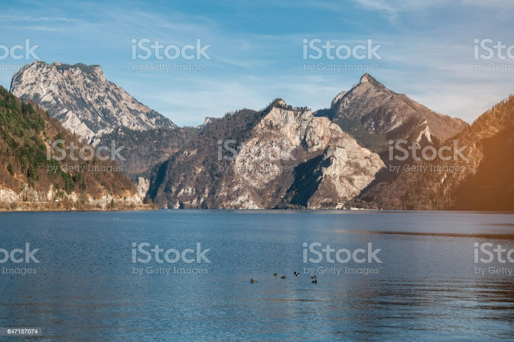 Close up on Traunsee lake and Traunstein mountains in upper Austria stock photo
