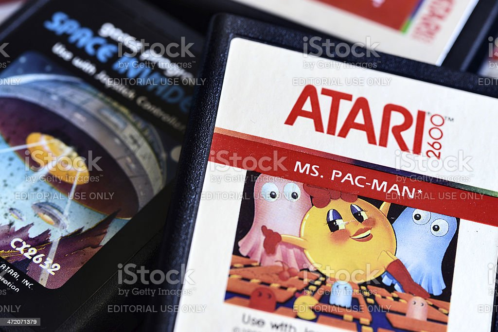 Close up on vintage Atari 2600 video game cartridges stock photo