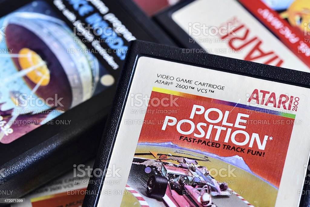 Close up on vintage Atari 2600 video game cartridges stock photo