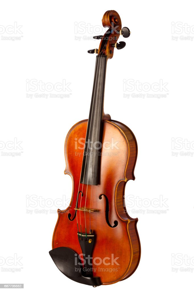 Close up on vintage violin isolated on white stock photo