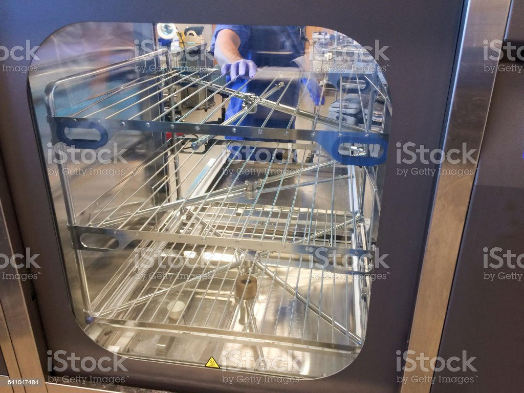 Close up on washer disinfector chamber in a hospital stock photo