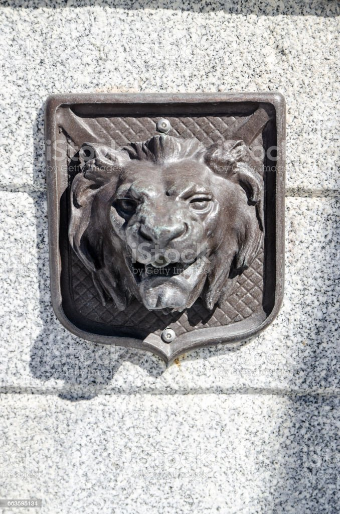 Close up on water fountain to show the Lion's head stock photo