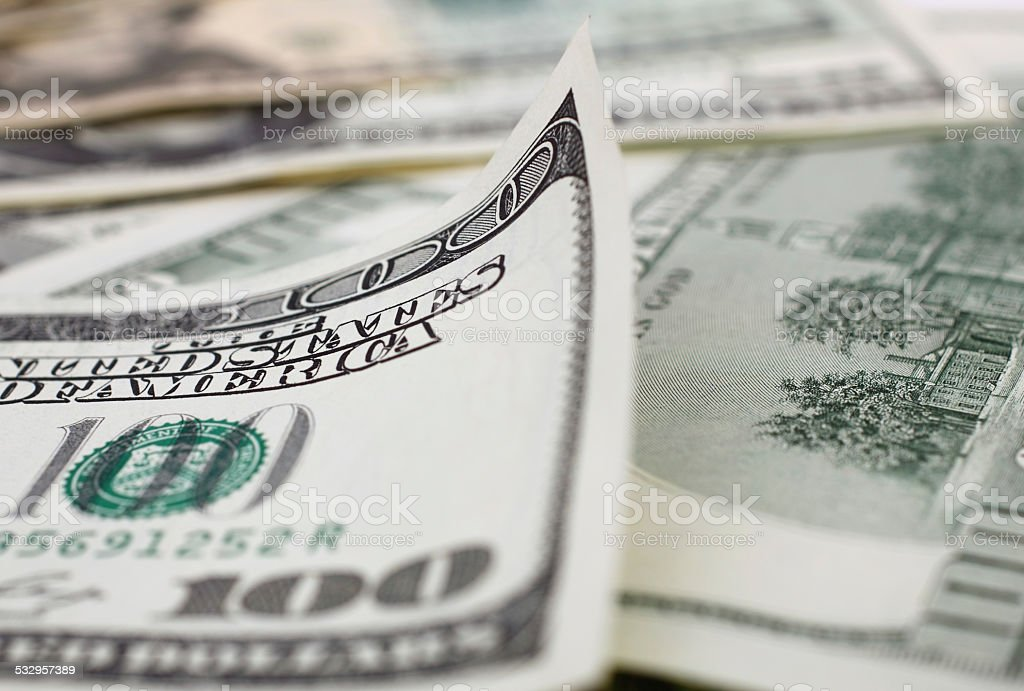 Close up One hundred Dollar Bill stock photo