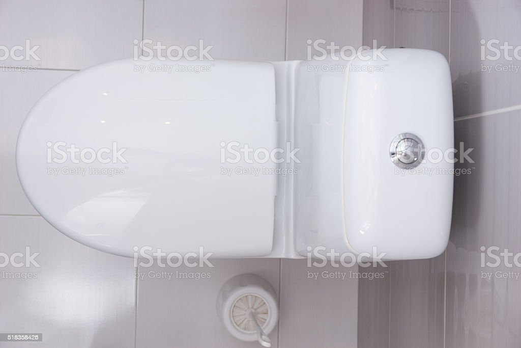 Close up overhead view of a plain white toilet stock photo