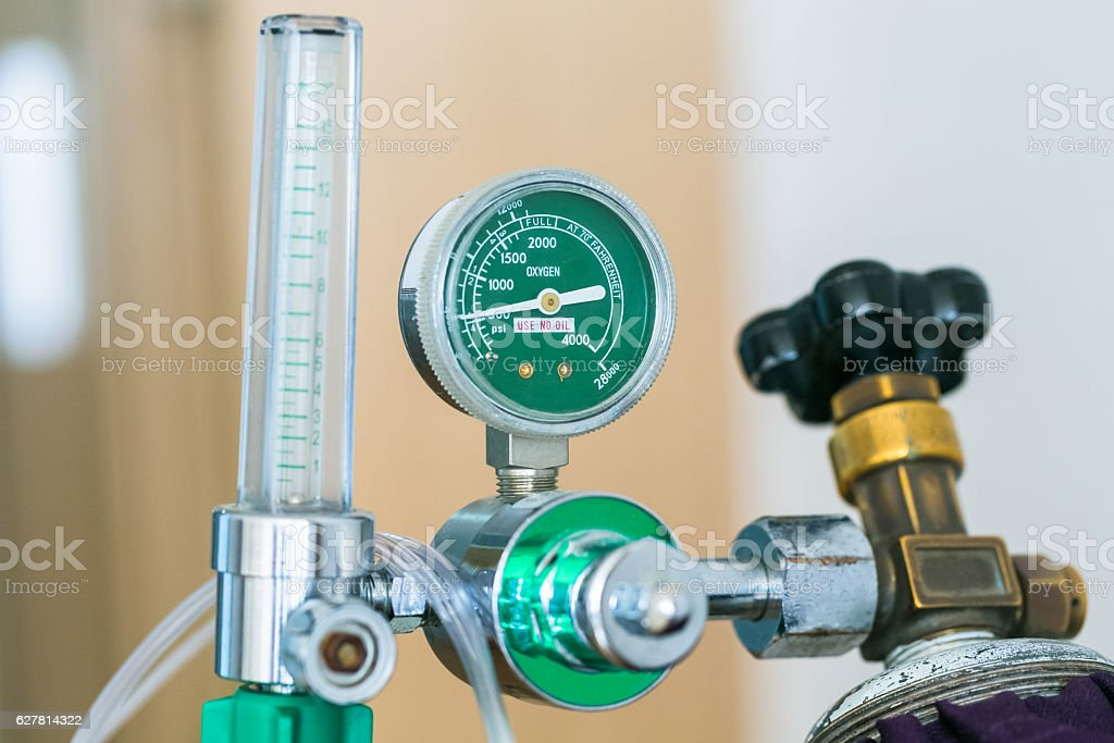 Close up oxygen cylinder in the hospital. stock photo