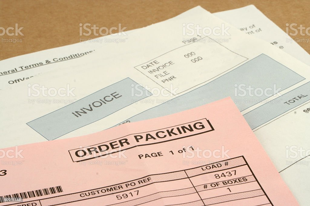 Close up, partial view, of three packing slips or invoices  royalty-free stock photo